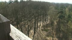 View from watch tower veluwe forest early spring 01i Stock Footage
