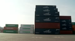 basic pan container port empty - stock footage