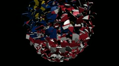 Malaysia flag sphere converging animation Stock Footage