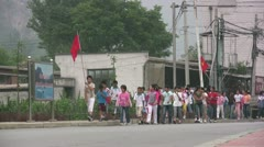 Chinese school class on a field trip Stock Footage