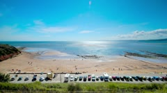Time lapse of car park near Exmouth beach - stock footage