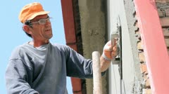 Mason Worker Plastering Wall Stock Footage
