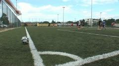 young people on the pitch playing football 4 - stock footage