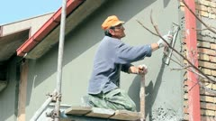 Worker Plastering A Wall Stock Footage
