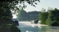 Stock Video Footage of Dawn Mist on the Grand Union Canal