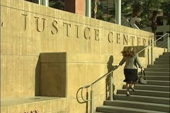 Clark County Courthouse (Regional Justice Center) sign Stock Footage