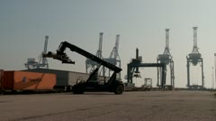Container Port loading lorry/truck timelapse Stock Footage