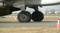 Gear from plane, close up - stock footage