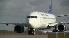 Egyptair plane on taxiway, close-up Stock Footage