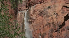 Zion NP and Virgin River form Angel Landing  with bus 2 JPEG 100 NTSC Stock Footage