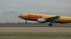 DHL plane takes off Stock Footage