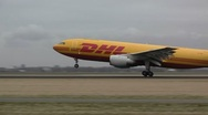 Stock Video Footage of DHL plane takes off