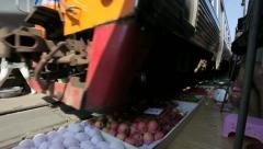 Train going through a Thai Market Stock Footage