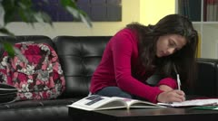 Young Girl Doing Homework Stock Footage