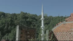 Minaret of a mosque in Srebrenica Stock Footage