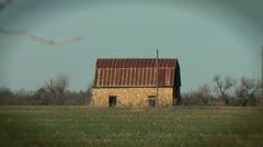 Old Stone Barn Zoom Out Kansas Winter Wheat Stock Footage