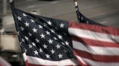 US Flags Highway Close Up Stock Footage