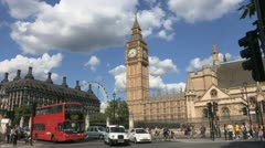 Big Ben, Parliament, traffic  buses, summer. Stock Footage