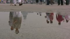 Reflection of people walking over Tiananmen Square Stock Footage