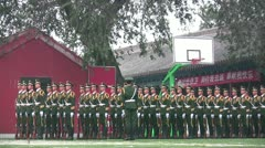 Chinese soldiers practice for the Tiananmen flag lowering ceremony in Beijing Stock Footage