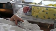 Newborn infant in hospital Stock Footage