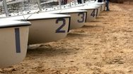 Sailboats 420 racing high school team Stock Footage