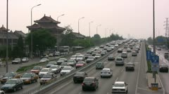 Gridlock on the highway near the Lama temple in Beijing , China Stock Footage