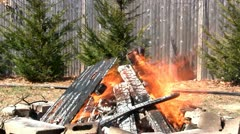 Blazing fire pit Stock Footage