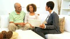 Saleswoman Home Meeting Senior Couple Stock Footage