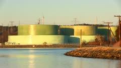 Fuel tanks cape cod power plant Stock Footage