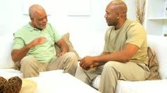 Senior Ethnic Father and Adult Son Stock Footage