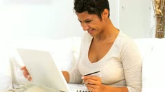 Young Ethnic Female Internet Shopping Home - stock footage