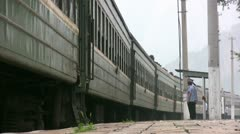 A Chinese train leaves the station Stock Footage