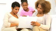 Three Generations Ethnic Females Home Laptop Computer Stock Footage