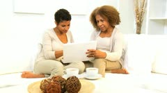 Ethnic Females Home Laptop Internet - stock footage