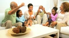 African American Family Playing Games Console - stock footage