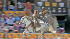 Medieval horsewoman Stock Footage