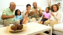 African American Family Playing Action Games Console Stock Footage