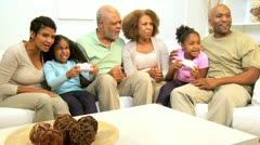 Stock Video Footage of Extended African American Family Home Games Fun