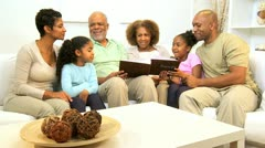 Generations Ethnic Family Looking Family Photographs   Stock Footage