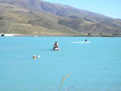 Jetskiing Twizel lakes - stock photo