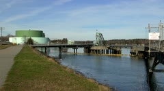 Fuel tanker dock pumping stations cape cod canal Stock Footage