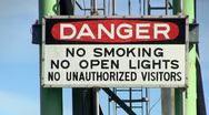 Stock Video Footage of Fuel tanker dock signage cape cod canal; Danger 2