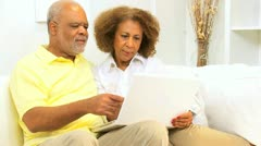Older Ethnic Couple Laptop Computer Home  Stock Footage