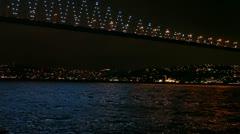 Istanbul night city and Bosphorus Bridge HD 1080p Stock Footage