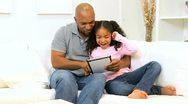 Lone Ethnic Parent Family Wireless Home Technology  Stock Footage
