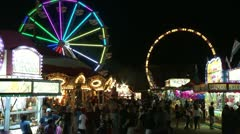 Fair Main Walkway Rides night Stock Footage