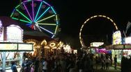 Stock Video Footage of Fair Main Walkway Rides night