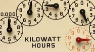 Stock Video Footage of Electricity supply meter dials close up time lapse and track.