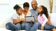 Ethnic Family Home Touch Screen Tablet  Stock Footage